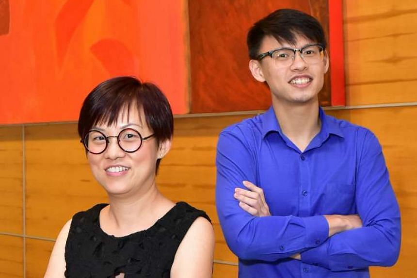 Ms Kwek (left) and Mr Tan (right) each won a $100 shopping voucher for taking part in a public vote for the winner of the inaugural Straits Times Singaporean of the Year award.