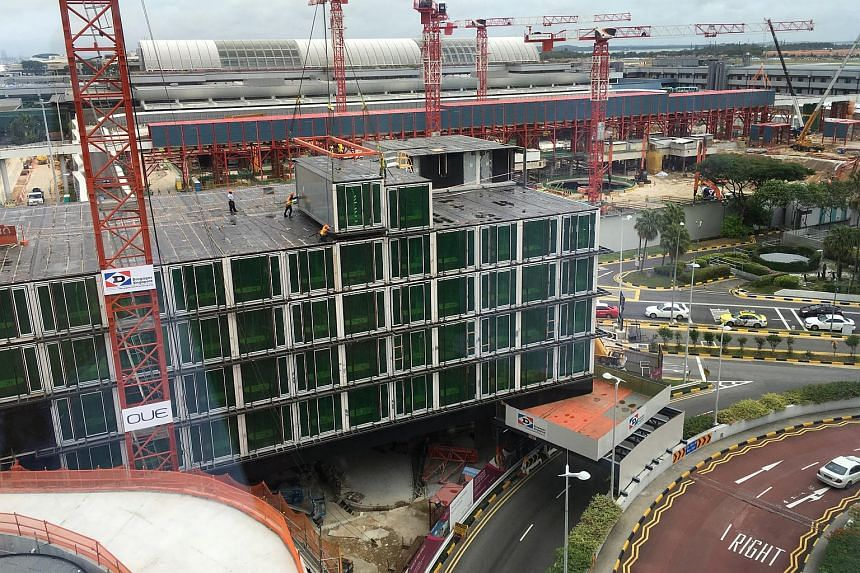 Crowne Plaza Changi Airport's new 10-storey extension being built using the more productive Prefabricated Pre-finished Volumetric Construction technology.