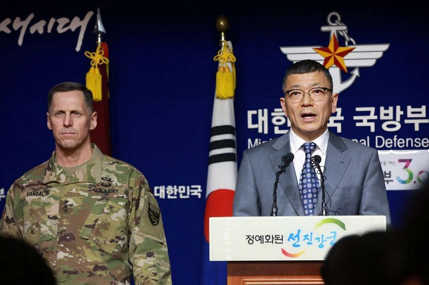Mr Yoo Jeh-seung (right), deputy minister for policy at South Korea's Defense Ministry, at a press conference with Lt. Gen. Thomas Vandal, the commander of US Forces Korea's Eighth Army, in Seoul, South Korea, on Feb 7, 2016.