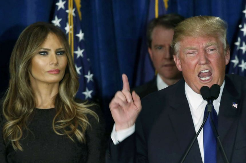Donald Trump and wife Melania at his New Hampshire victory rally on Feb 9, 2016.