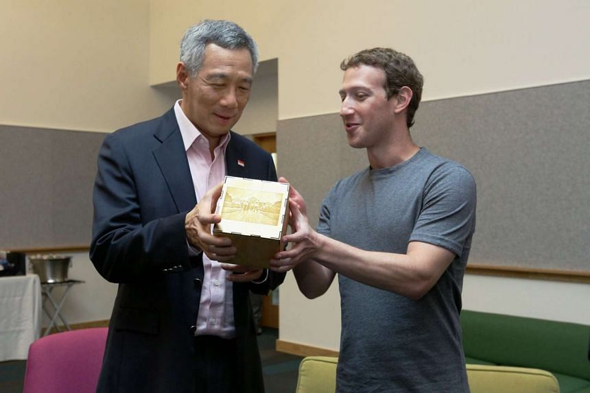 Prime Minister Lee Hsien Loong (left) with Facebook CEO Mark Zuckerberg on Feb 13, 2016.