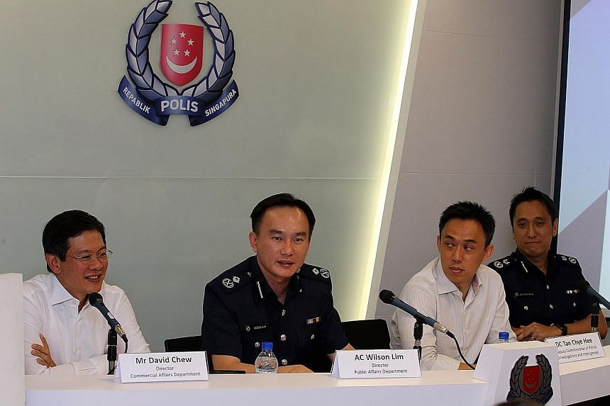 (From left) Mr David Chew, director of the Commercial Affairs Department; Police Assistant Commissioner Wilson Lim, director of the Public Affairs Department; Deputy Commissioner of Police (Investigations & Intelligence) Tan Chye Hee and Deputy Commi