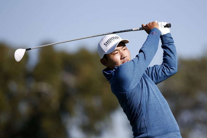 Kang Sung tees off on the 2nd hole during Round 1 of the Farmers Insurance Open on Jan 28, 2016.