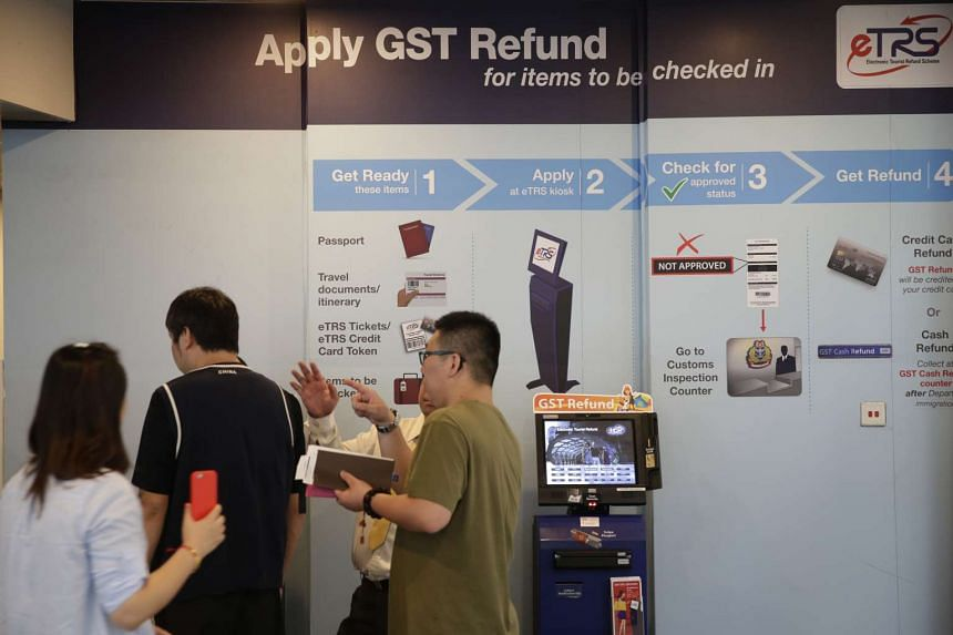 The GST refund counters at Changi Airport's Terminal 3 on Feb 11.