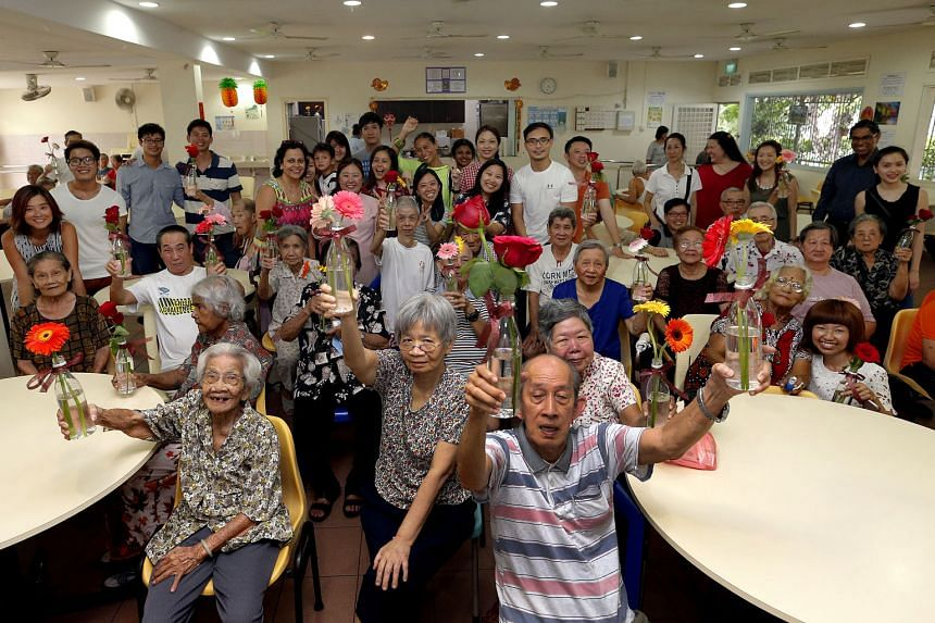 Residents of St John's Home for Elderly Persons received some Valentine's Day love from volunteers yesterday. The National Volunteer and Philanthropy Centre (NVPC) partnered with food distributor Samsui Supplies and Services to deliver food, flowers and s
