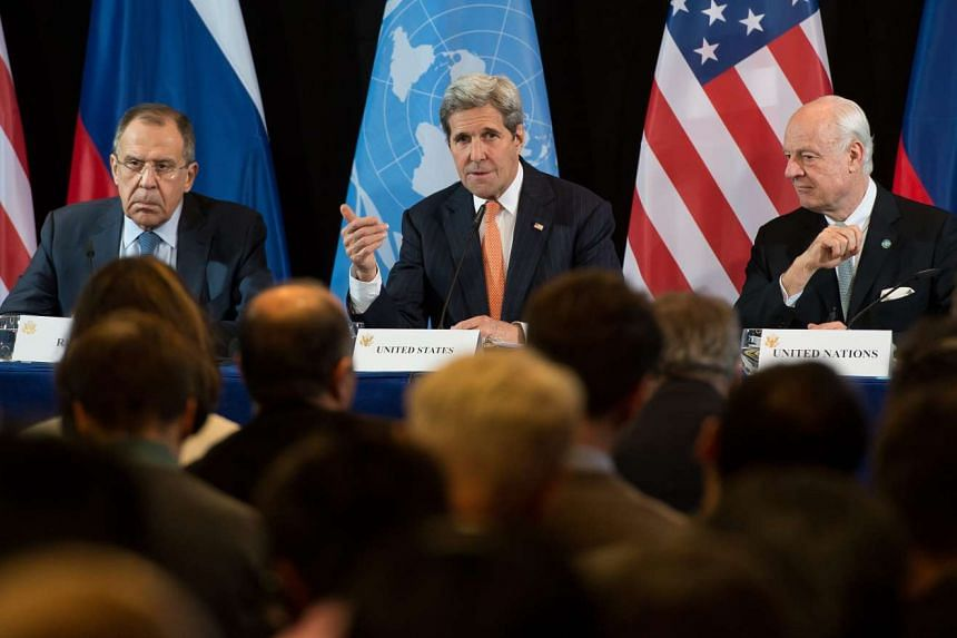 (From left) Russian Foreign Minister Sergei Lavrov, US Secretary of State John Kerry and United Nations Secretary-General's Special Envoy for Syria Staffan de Mistura at a press conference after the International Syria Support Group's meeting in Muni