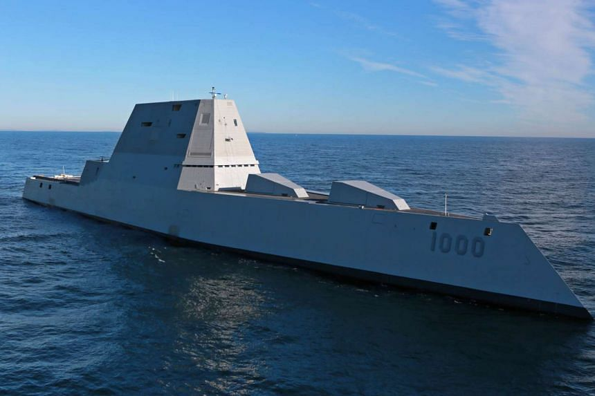 The DDG-1000 Zumwalt-class destroyer undergoing at-sea tests and trials in the Atlantic Ocean on Dec 7 last year. It is the US Navy's largest and stealthiest destroyer.
