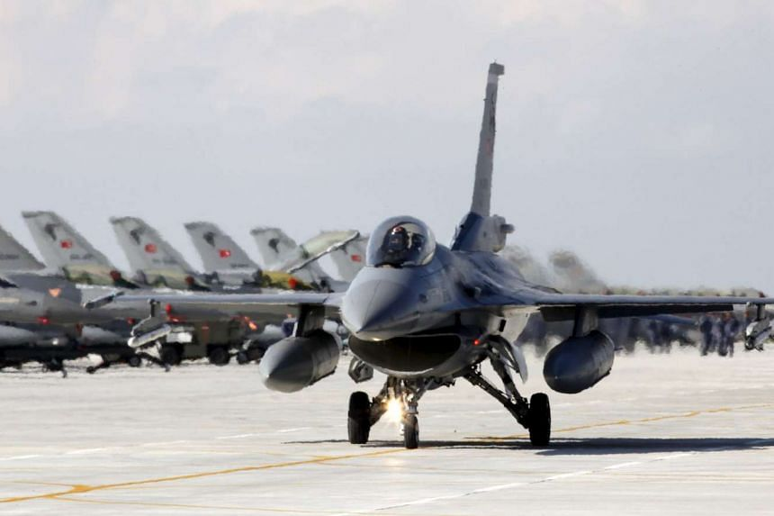 A Turkish Air Force F-16 jet preparing to take off from an air base in Konya in 2010.