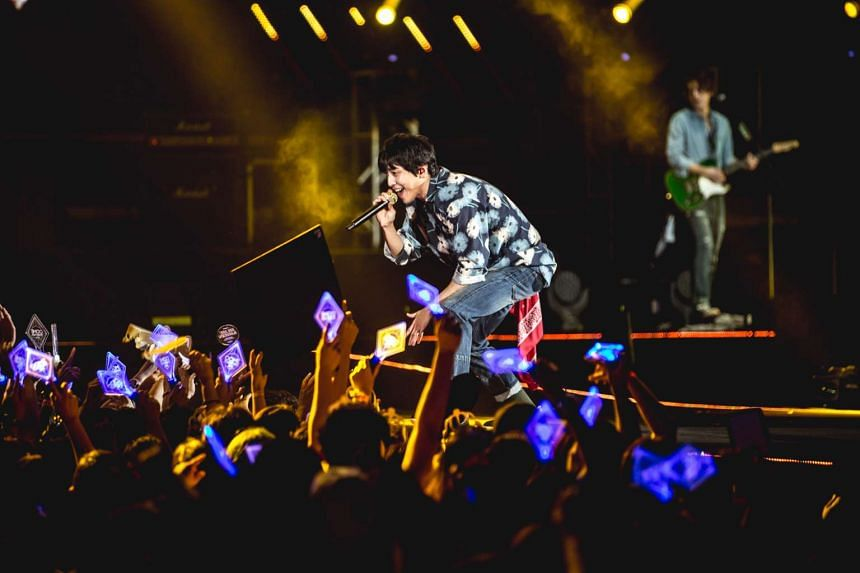 Lead vocalist Jung Yong Hwa of Korean band CNBlue at their Come Together in Singapore concert on Feb 13, 2016.