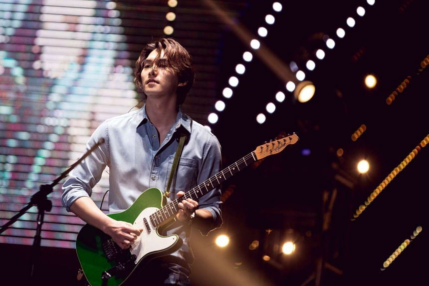 Vocalist and guitarist Lee Jong Hyun of Korean band CNBlue at their Come Together in Singapore concert on Feb 13, 2016.
