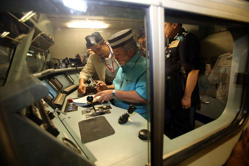 The Sultan of Johor took to the wheel of a train on Sunday (Feb 14), driving it from JB Sentral station to Segamat.