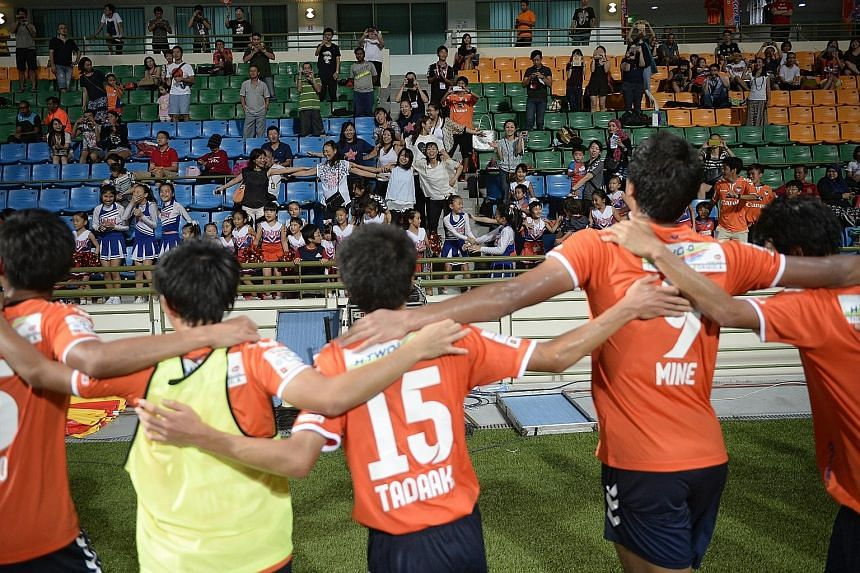 Albirex thanking their fans among the 2,481-strong crowd at Jalan Besar.