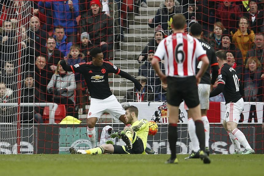 A fluke second goal for Sunderland, after Lamine Kone's 82nd-minute header hits the elbow of Man United goalkeeper David de Gea and rolls over the line. United were on the back foot after Sunderland took an early lead through Wahbi Khazri.