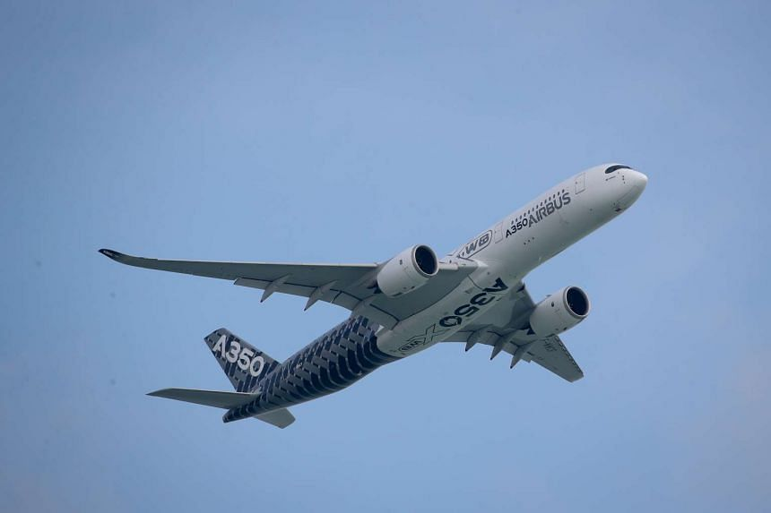 An Airbus A350 XWB taking flight during a preview show, on Feb 14, 2016.