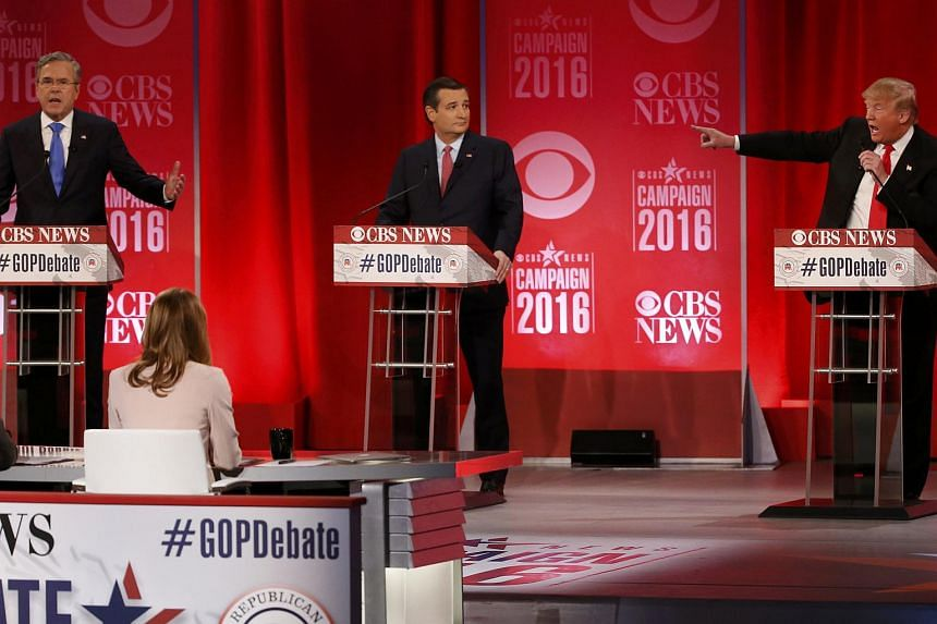 Republican US presidential candidates (from left) Jeb Bush, Ted Cruz and Donald Trump during the GOP debate in  Greenville, South Carolina, on Feb 13,