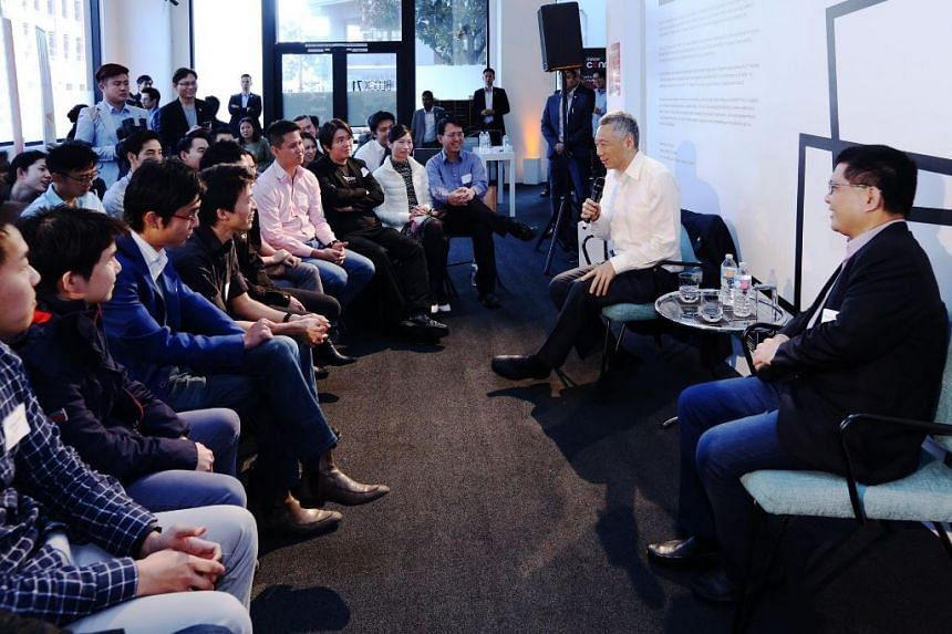 Mr Lee having a dialogue with Singaporean tech professionals, where he shared more about Singapore's Smart Nation project.