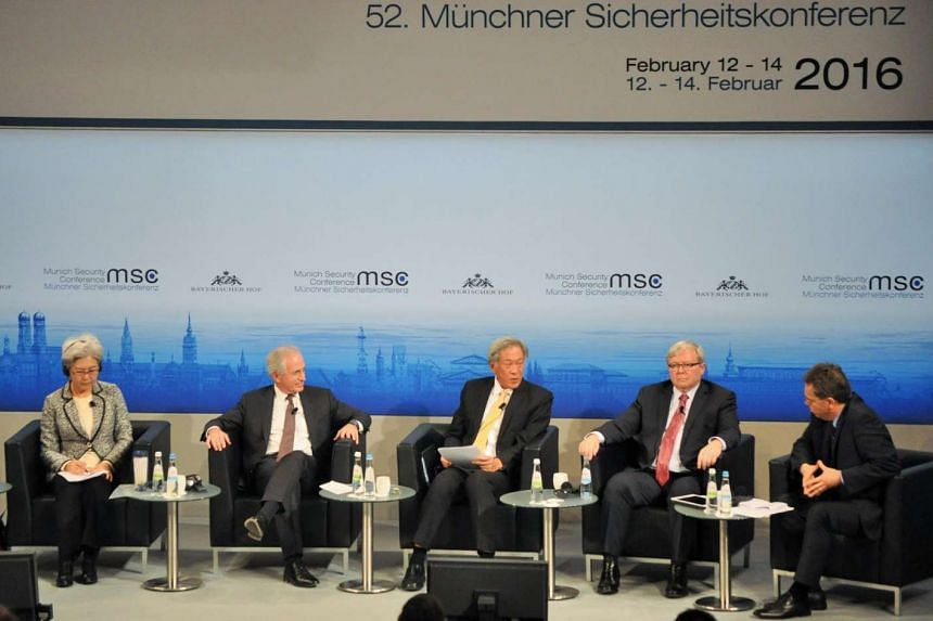 Singapore's Defence Minister Ng Eng Hen (centre) at a panel discussion during the 52nd Munich Security Conference.