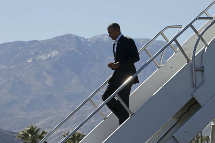 US President Barack Obama arrives in Palm Springs California on Feb 12, 2016. He will then host leaders of the 10-nation Association of Southeast Asian Nations (Asean) on Monday and Tuesday at the Sunnylands in Rancho Mirage.