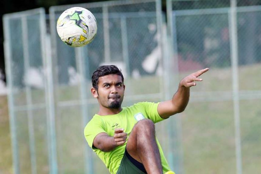 Geylang FC's Faritz Hameed during a training session ahead of their S-League match against Tampines Rovers.