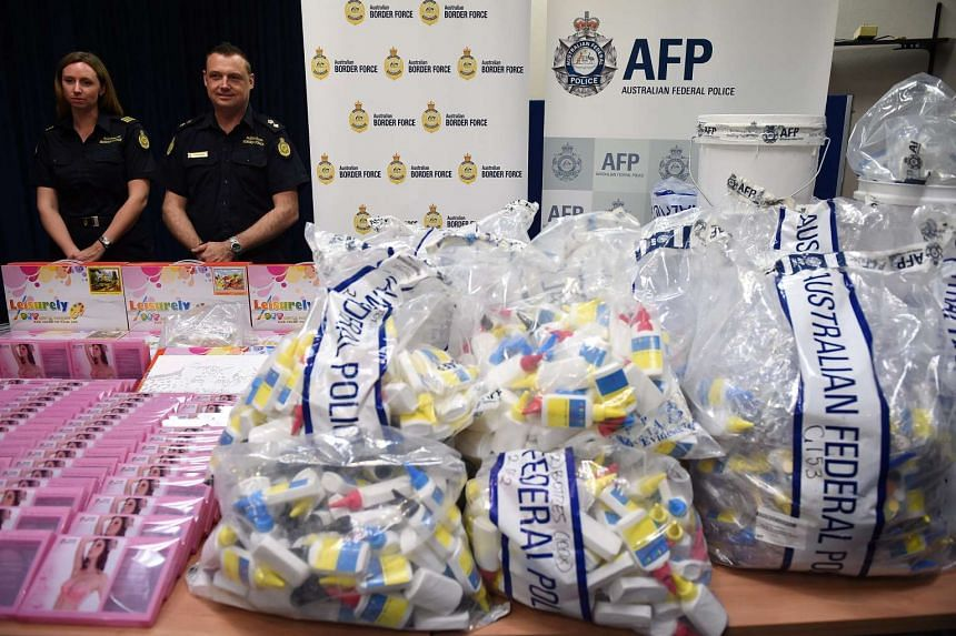 Seized drugs are seen on display, in the packaging they were concealed in, at the Australian Federal Police (AFP) headquarters in Sydney, Australia on Feb 15, 2016.