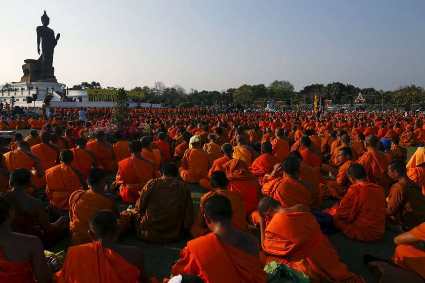 Buddhist monks protest against state interference in religious affairs at a temple in Nakhon Pathom province, Thailand on Feb 15, 2016.