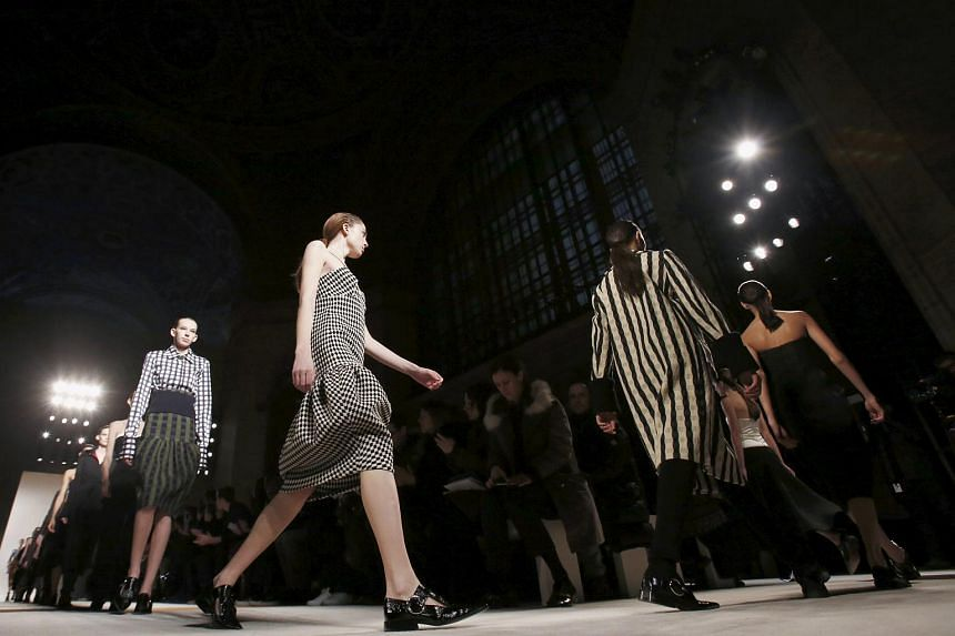 Models presenting creations from the Victoria Beckham Fall/Winter 2016 collection on Feb 14, 2016.