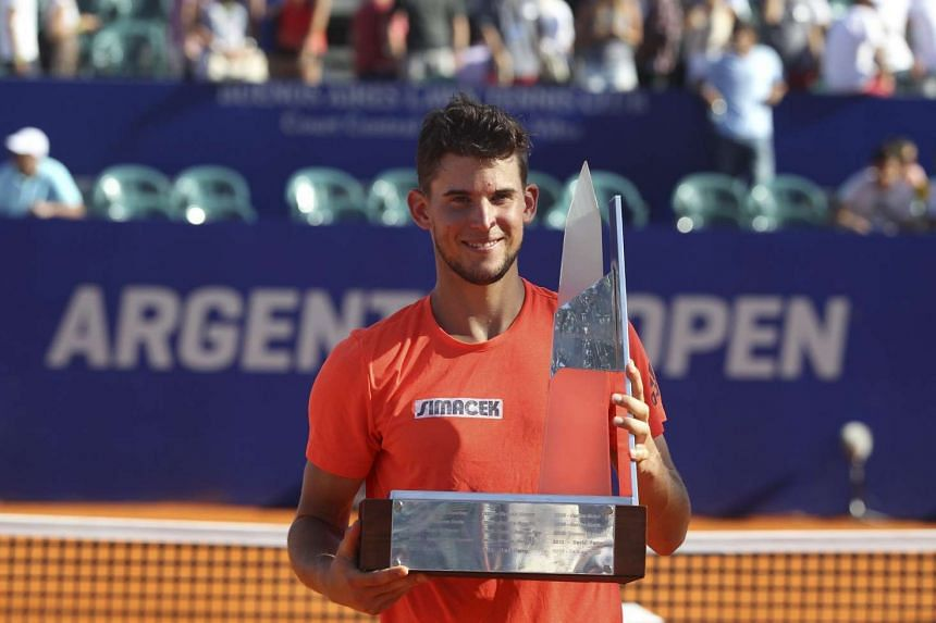 Dominic Thiem celebrates after defeating to Spanish Nicolas Almagro during the final of the ATP Buenos Aires tournament.