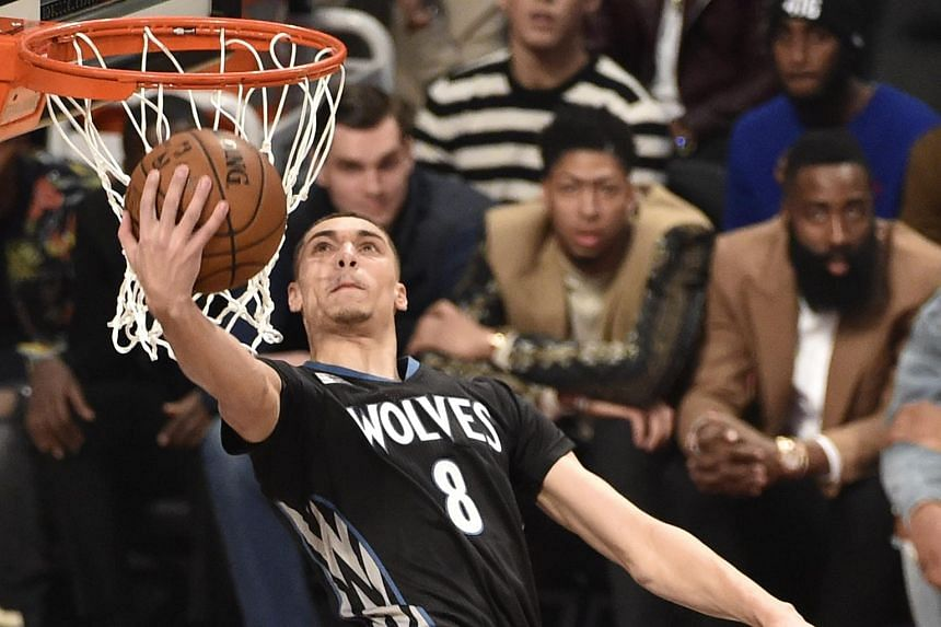 Minnesota Timberwolves' Zach LaVine goes in for a dunk during the Slam Dunk at the Air Canada Centre, on Feb 13, 2016.