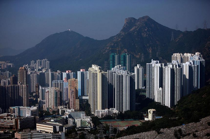 An elevated view from Fei Ngo Shan Mountain shows residential buildings in the Kowloon region of Hong Kong.