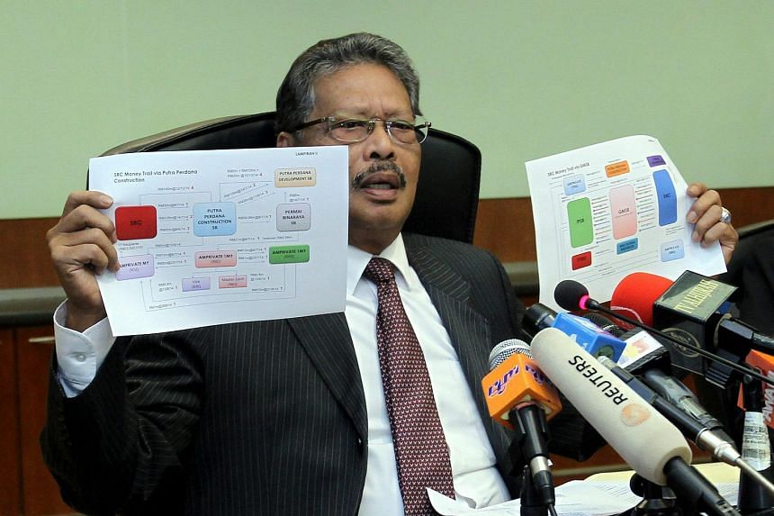 Malaysia's Attorney General Apandi Ali showing the flow chart of where the money came from during the press conference on SRC International.