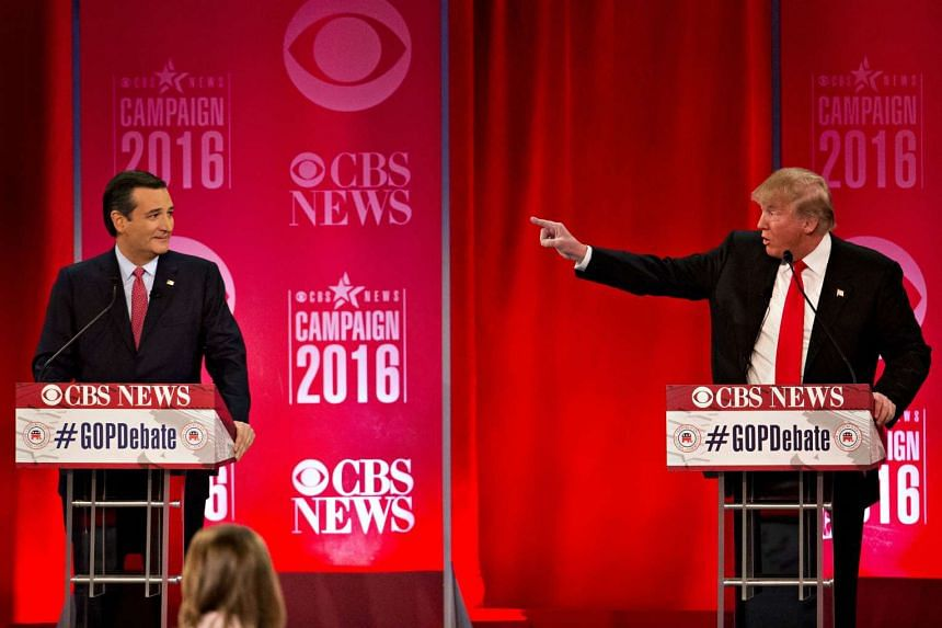 Republican presidential candidates Ted Cruz (left) and Donald Trump during the Republican presidential candidate debate sponsored by CBS News and the Republican National Committee at the Peace Center in Greenville, South Carolina, US on Feb 13, 2016.