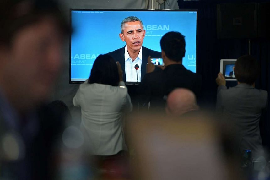 Journalists recording President Barack Obama's speech at the International Media Centre during the US-Asean leaders summit on Feb 15, 2016.