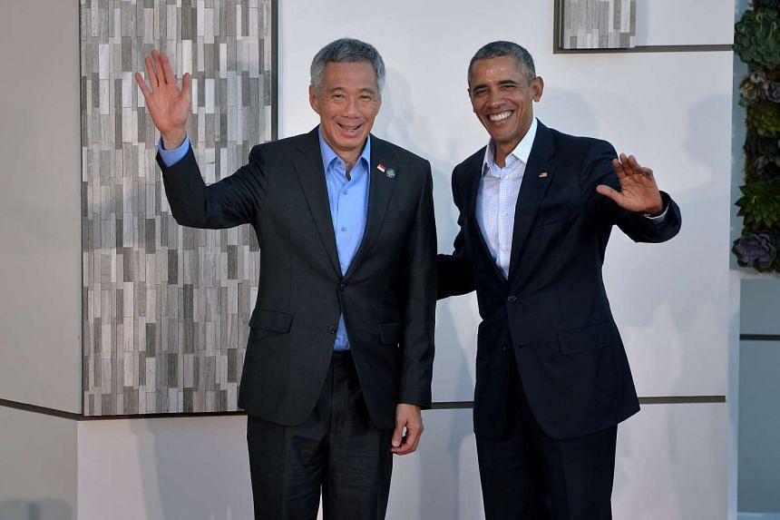 Prime Minister Lee Hsien Loong (left) and US President Obama at the Sunnylands Estate in California on Feb 15, 2016.