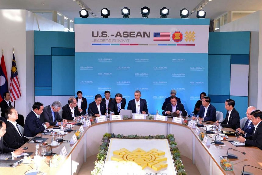 US President Barack Obama meets with ASEAN leaders during the US-Asean Summit on Feb 16, 2016.