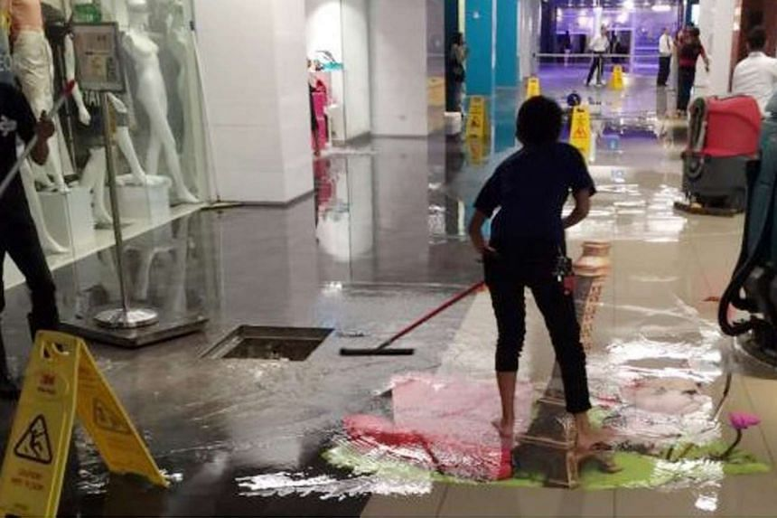 The flooded areas in the basement of Orchard Gateway on Feb 16, 2016.