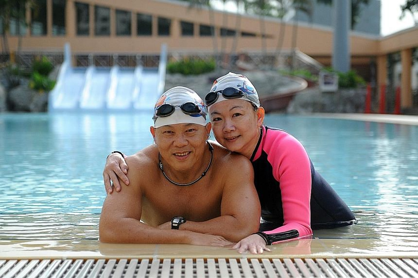 Mr Liew, 55, joined the North West SwimSafer Club for Seniors about a year ago. His wife, Madam Chee, 52, joined recently. Swimming is now part of their routine.