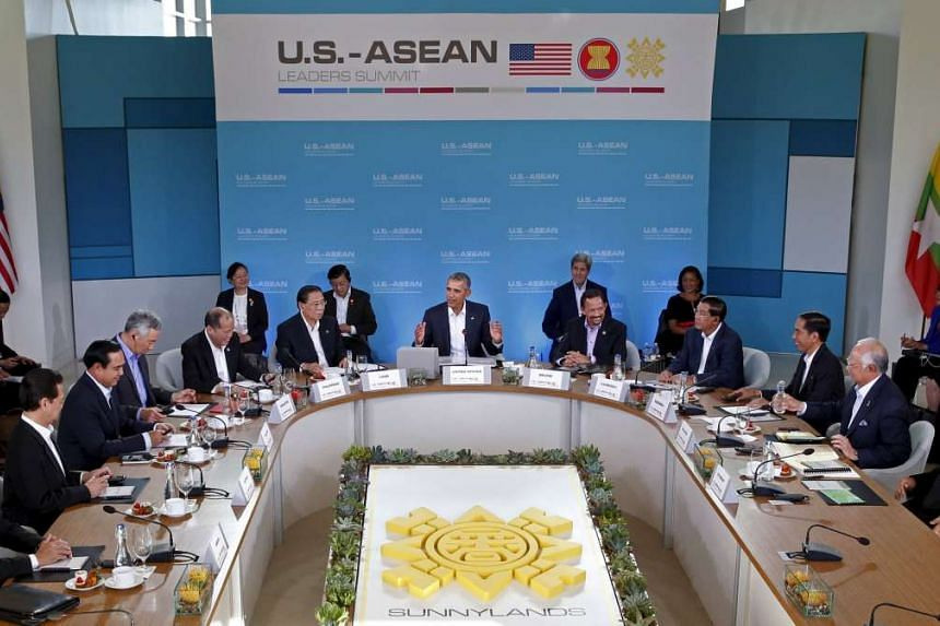 US President Barack Obama making opening remarks at the Asean summit at Sunnylands, California, on Feb 15.