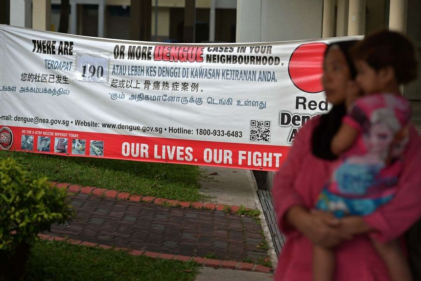 A dengue poster in Tampines, which is the biggest dengue cluster with 278 cases reported.