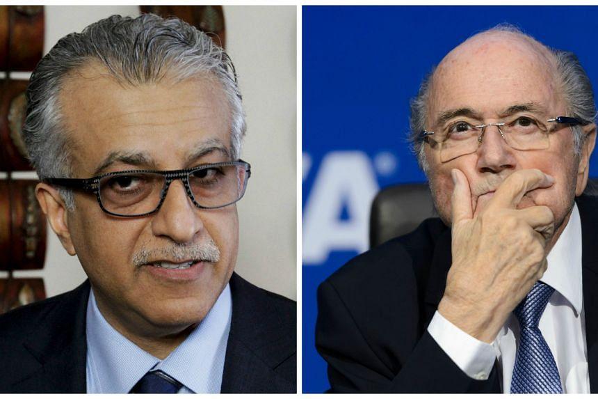Fifa presidential candidate Sheikh Salman Bin Ebrahim Al Khalifa (left) and Fifa's suspended president Sepp Blatter.