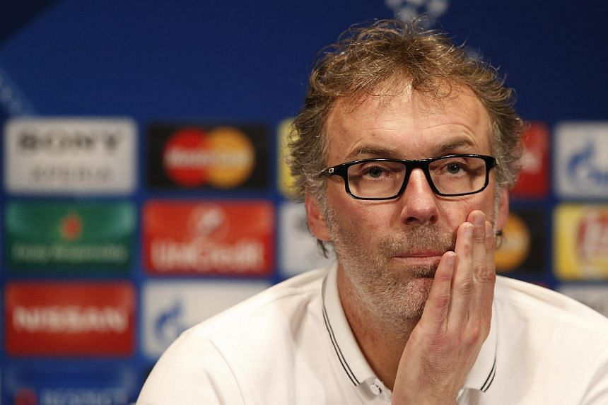 Laurent Blanc speaks during a press conference at the Parc des Princes Stadium in Paris, France, on Feb 15, 2016.