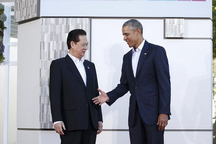 US President Barack Obama welcoming Vietnamese Prime Minister Nguyen Tan Dung at Sunnylands, California, on Feb 15.