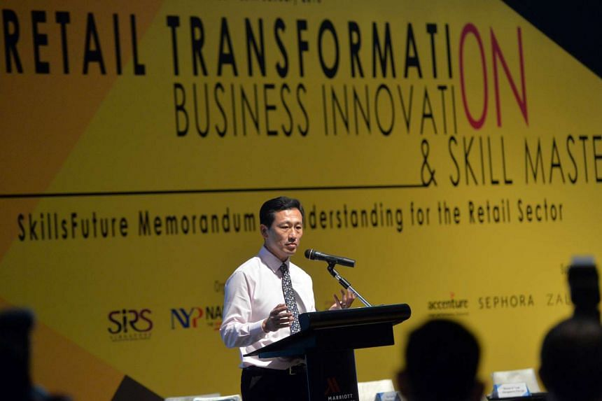 Mr Ong Ye Kung, Acting Minister for Education (Higher Education and Skills) at the signing of the Memorandum of Understanding to offer the SkillsFuture Earn and Learn Programme for the retail sector.