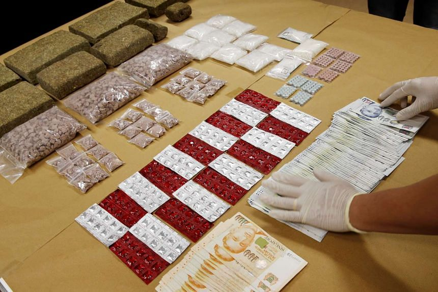 The haul of drugs and cash seized during the four-day island-wide raids by Central Narcotics Bureau (CNB) officers.