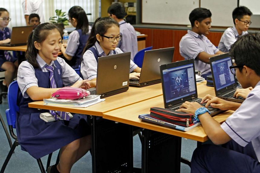 At Jurong West Secondary School, students use an online annotation tool to analyse visual text.