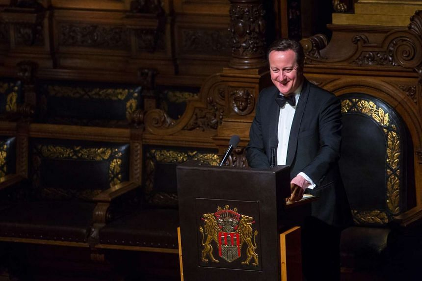UK prime minister David Cameron at the annual Matthiae-Mahlzeit dinner at Hamburg's city hall in Germany, on Feb 12, 2016.