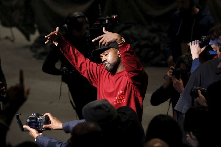 Kanye West dances during his Yeezy Season 3 Collection presentation during New York Fashion Week.