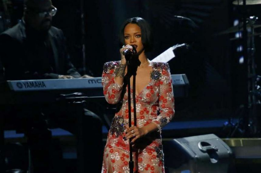 Singer Rihanna performs at the 2016 MusiCares Person of the Year gala in Los Angeles.