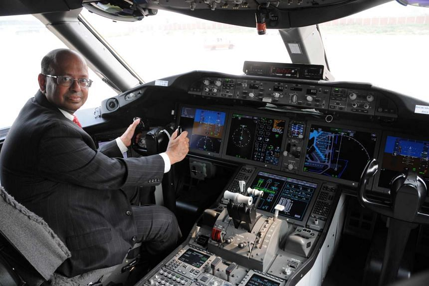 """Mr Keskar, in the cockpit of a Boeing 787, says the Singapore Airshow attracts """"a very high-level quality of delegates""""."""