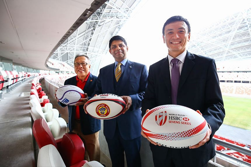 (From left) Rugby Singapore chairman Low Teo Ping, Fiji Attorney-General and minister Aiyaz Sayed-Khaiyum and Enterprise Sports Group CEO Terence Khoo after the sponsorship signing.
