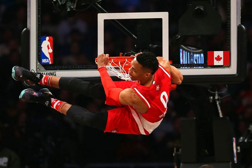 MVP Russell Westbrook dunking in the first quarter.